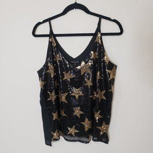 Shinestar Sequin Star Cami Top Black & Gold Large